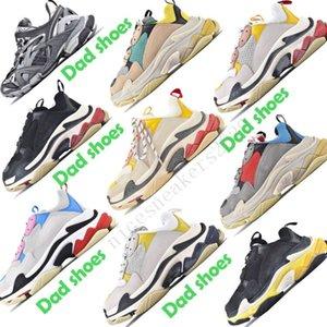 zapatos de papá Poco Con zapatos de mujer de la moda de París Triple S hombres al aire libre de los zapatos ocasionales triples gris blanco negro de las zapatillas de deporte de la vendimia estilista formadores