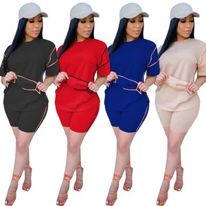 2020 New Summer Women Solid Three Piece Sets Linellae Patchwork Female's Sportwear O-Neck Short Sleeves Biker Shorts Tracksuits