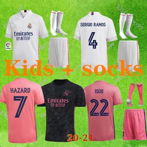 20 21 Real Madrid futbol formaları Deplasman Üçüncü futbol takımı TEHLİKESİ Zidane BENZEMA futbol forması Camiseta De Futbol Bay Çocuk setleri + çorap
