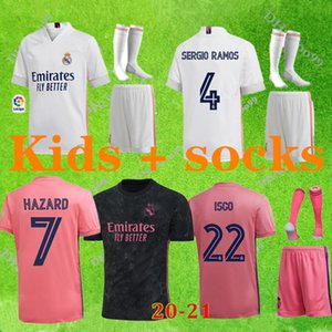 20 21 Real Madrid Futebol Jerseys Home Away Terceiro Kit de Futebol Hazard Zidane Benzema Camisa de Futebol Camiseta de Futbol Miúdos Conjuntos + Meias