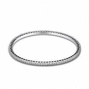Genuina plata de ley 925 del centelleo siempre CZ clara brazaletes para las mujeres de DIY que hace Fits joyería europea Berloques Pulsera apL4 #