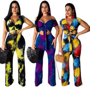 Fashion Women Outfits Short Sleeve Off Shoulder T Shirt Crop Top + Wide Leg Pants Trousers 2 Piece Set Beach Style Tracksuit Suit Clothing