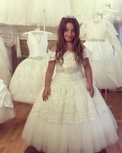 Luxurious Lace Crystals Flower Girl Dresses Ball Gown Beaded Little Girl Wedding Dresses Cheap Communion Pageant Dresses Gowns F3218