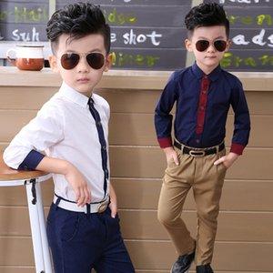 New Korean Korean cotton Chen Yi version cotton children's Boys' long-sleeved shirt autumn children necktie baby xiao chen yi