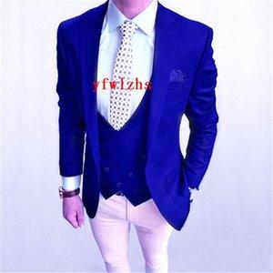 Handsome One Button Groomsmen Peak Lapel Groom Tuxedos Mens Wedding Dress Man Jacket Blazer Prom Dinner suits (Jacket+Pants+Tie+Vest) W194