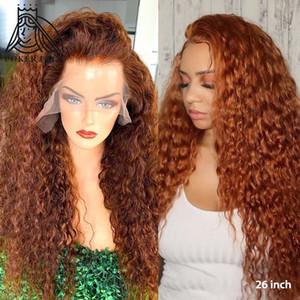 13x4 brasiliani ricci capelli umani parrucche 150% Densità zenzero arancione colori Remy lungo del merletto anteriore umano parrucca Pre parrucca onda a pizzico