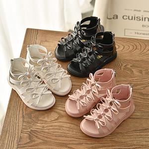 Filles Designer Sandales d'été Nouvelle arrivée Chaussures romaines Chaussures Fille Enfants Princesse avec Bow Mode couleur solides Sandales bébé