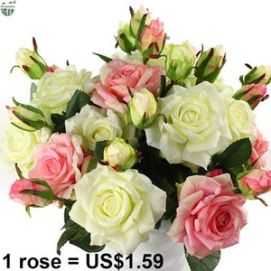 Real Touch Rose Sets Bouquet Latex Coated Silk Flower Home Wedding Marrige Party Decoration Flower Decorative Artificial Flowers T200703
