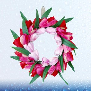 1Pc Simulation Flower Wreath Tulip Garland Wedding Decoration Party Supplies for Door Wall Showcase Decor (Rosy)