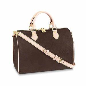 Kadınlar moda L çiçek deseni boston yastık tarzı gerçek deri 25cm 30cm 35cm bayanlar çanta çanta klasik Sped çanta totes