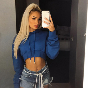 Solid Gray Hooded Crop Top Women's Sweatshirt Long Sleeve Lace Up Women Hoodies Sexy 2020 Autumn Fashion Female Clothes44