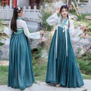 Корейский Hanfu женщин зеленый костюм Традиционный китайский Fairy Классический танец Outfit Хан / Tang / Song Dynasty Ancient Lady длинное платье