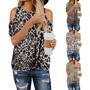 2020 nuevos modelos de explosión para mujer leopardo de camuflaje camuflaje nudo sin tirantes de manga corta del estilo ocasional de moda mujeres de la camiseta