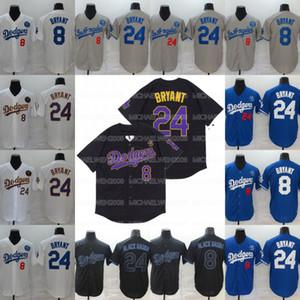 Negro Mamba Bryant de Los Angeles 8 24 jerseys del béisbol Doble cosido jerseys camisa Listo para el envío de la alta calidad
