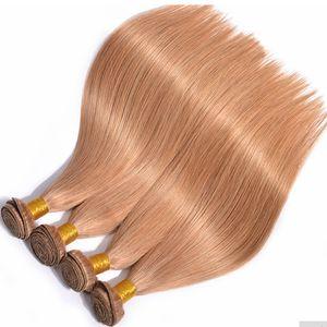 Color Virgin brazilian human hair 3 bundles color #27 silk straight remy hair extension for woman