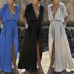 Womens Verão Feminino Casual solta Praia Vestido tornozelo comprimento V Long Neck Dividir Vestidos Boho vestido longo