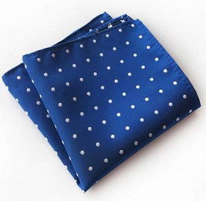 Men Pocket Squares Dot Pattern Blue Handkerchief Fashion Hanky For Men Wedding Business Suit Accessories 25cm*25cm