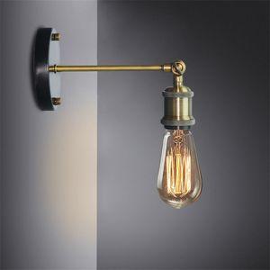 Luz Lámpara de pared retro Industrial LED del hierro del moho de la vendimia del tubo de agua luces LED E27 Loft plateado Iluminación Interior del dormitorio del hogar del restaurante Deco
