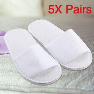 Disposable Slippers 5 paia Spa Hotel Giudizi Slipper aperte davanti spugna monouso Terry respirabile Stile Soft White Shoes #