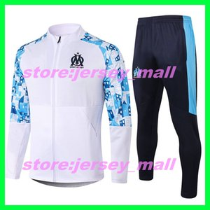 20-21 Men Olympique de Marseille soccer tracksuit 2020 2021 adult training suit Maillot De Foot PAYET THAUVIN OM Football zipper jacket jogg