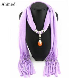 Ahmed New Original Ethnic Tibetan Wax Beads Pendants Scarf Necklace for Women Fashion Charm Silk Scarves Collar Jewelry