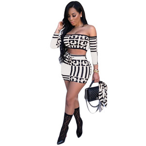 Womens Two-Piece Set Luxo padrão geométrico Cropped Top + Saias Sexy Two Piece Vestidos Street Style Womens Clothes 2 cores quentes