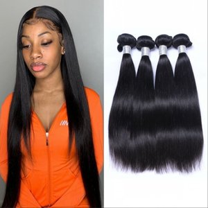 Brazilian Human Hair Extensions Straight Hair Weave Bundles Double Weft 4 Bundles Virgin Hair Natural Color