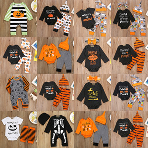 14 Styles Halloween Baby Clothing sets Infants pumpkin ghost print Outfits kids Clothes stripe Pants Hat Set Toddler Boys Girls Suits Z1188