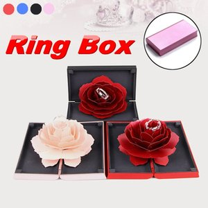 Folding Rotating Rose Ring Box for Fashion Jewelry Display Box Birthday Marriage Valentine's Day Jewelry New Arrival