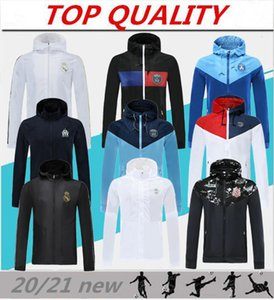 Top com zíper com capuz casacos de 2020 Real Madrid Paris futebol Windbreaker Olympique de Marseille Football casaco Sportswear