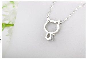 """Las mujeres de plata lindo collar plateado Gargantilla colgante Tiny Gato con 17.7"""" cadena de la manera hueco encantador del gatito de la joyería para mujeres de la muchacha Mejor ps1118"""