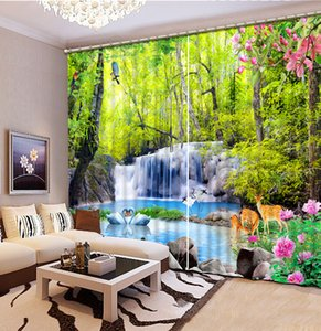 Custom 3D Beautiful nature scenery waterfall 3d curtain blackout curtains for bedroom living room curtains decor