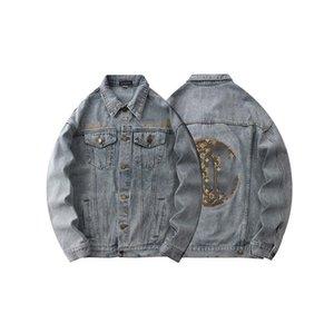 High quality luxury men's designer denim flying jacket embroidery pattern casual fashion women's designer jacket
