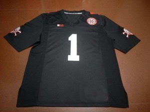 Custom Men Youth women New Nebraska Cornhuskers #1 Black Wandale Robinson Football Jersey size s-4XL or custom any name or number jersey