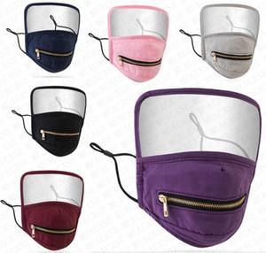 Fashion Face Mask соломка Zipper маска дышащий хлопок Face Shield Clear Полный защитный рот Обложка респираторов Респиратор DHL D8304