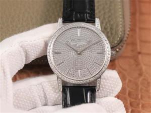81579 / 000G-9274 Montre de luxe 9015 Movimento intarsiato 660 Swarovski Diamante di cristallo in pelle orologio in pelle orologio diamante