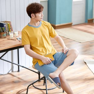 Simple couple pajamas 2020 Cotton short sleeve Korean style home clothes set cartoon men's and women's home clothes set