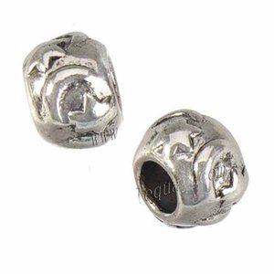 Jewelry Components 9mm Beads Bangles European Charms Bead Bracelets DIY Circle Moon Star Big Hole Slider Vintage Silver Metal 200pcs