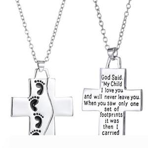 letras de plata del colgante cruz nueva Pie dios dijo joyería de moda cadena colgante amor regalo