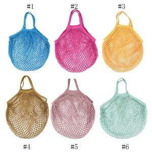 String Shopping Bag Reusable Supermarket Grocery Bag Shopping Tote Mesh Net Woven Cotton Fruit Vegetables Bag DHA401