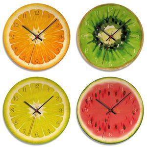 Fruit Wall Clock Orange Lemon Fruits Lime Pomelo Modern Kitchen Clock Watch Home Decor Tropical Fruit Wall Art Timepiece