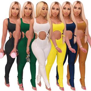 6 colores para mujer 2 de dos piezas huecas chándales deportivos con cordones atractivos trajes de fitness adapte a gimnasio de entrenamiento conjuntos manera de la caída del verano de DHL