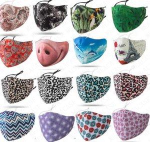 Whosale Gesichtsmaske Raum Baumwolle Designer Waschbar Resuable Maske für Frauen Männer Staubdichtes Adjustable Mouth-Muffel Masken mit Einzelpackung D71614