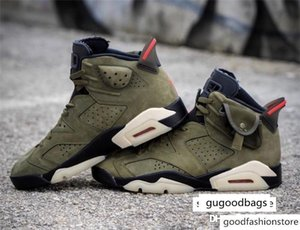 2019 Release Authentic 6S Travis Scott x Air 6 Medium Olive 3M Reflective Retro Black Sail Red Mens Basketball Shoes Sneakers CN1084-200