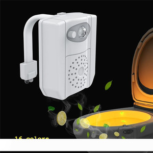 Intelligente PIR Motion Sensor Toilet Seat luce UV disinfezione notturna di 16 colori impermeabile retroilluminazione WC servizi igienici vaschetta per aromaterapia lampada LED