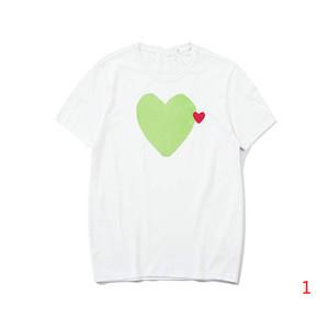 20SS New Verão camisetas para homens Moda Mens Tops de manga curta com grupo Coração Impresso Neck Tops Tees Tamanho S-XL