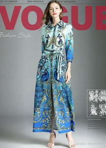 2018 Women fashion runway dresses,Turtle neck with sashes waist printing Spring and Autumn dress,one colour