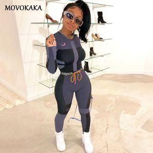 MOVOKAKA 여름 두 조각 세트 여성 탑과 바지 매칭 여성 운동복 여성 플러스 크기 T200603를 들어 여자 의상 스포츠 정장을 설정합니다