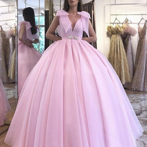 2020 Pink Ball Gown Prom Dresses Sexy Deep V Neck With Bow Floor Length Custom Made Special Occasion Evening Party dress Cheap