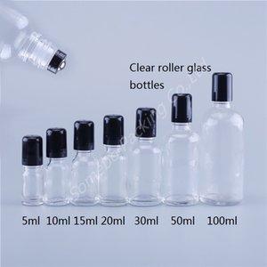Sıcak Nokta Doldurulabilir 100ml 50ml 30ml 20ml 15ml 10ml 5ml Temizle Cam Rulo-Metal Silindir Ball ile Yüz Şişeler